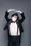 Male mime actor fun mimic performing Stock Image