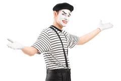 Male mime dancer gesturing with hands. Isolated against white background Stock Images