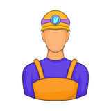 Male miner icon, cartoon style. Male miner icon in cartoon style isolated on white background. Worker symbol Royalty Free Stock Photos