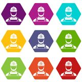 Male miner icon set color hexahedron. Male miner icon set many color hexahedron isolated on white vector illustration Royalty Free Stock Photography