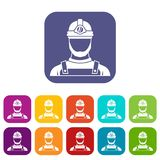 Male miner icons set Stock Photography