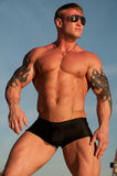 Male model. Muscled male model with blue sky on background Stock Images