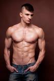 Male model. Muscled male model posing in jeans Stock Photo