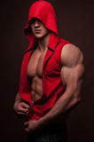 Male model. Muscled male model in shirt with a hood Royalty Free Stock Photography