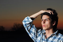 Male Model. Outdoor portrait of young good looking male model royalty free stock photography