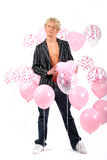 Male model. With balloons isolated on a white background Royalty Free Stock Photos