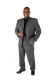 Male Model. Black male model in suit on white background Stock Images