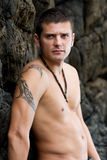 Male model. Portrait of a male model with no shirt Royalty Free Stock Photo