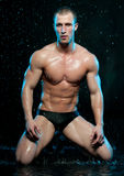 Male model in aqua studio Royalty Free Stock Image