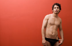 Male model in black underwear Stock Photography