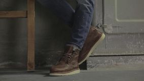Male model in brown shoes stock footage