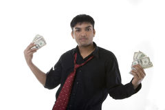 Male model with cash Royalty Free Stock Photography