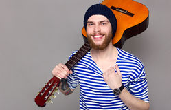 Male Model with Guitar Stock Image