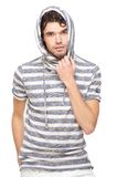 Male Model with Hooded Sweatshirt. Handsome caucasian male model with striped hooded sweatshirt. Isolated on white background Royalty Free Stock Photos