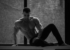 Male model. Muscled male model at the window Royalty Free Stock Image