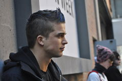 Male model at  New york city fashionweek, february 18 2015 Royalty Free Stock Photography