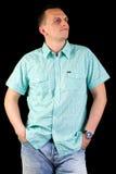 Male model posera i studio Royaltyfri Fotografi