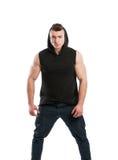 Male model posing wearing black hoodie Stock Photo