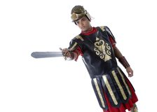 Male Model in Roman Soldier Costume. Adult Male Indian Model dressed as Roman Soldier over white background Royalty Free Stock Photo
