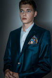 Male model in suit with Hugo effect. Good looking male model, current man fashion Royalty Free Stock Photography
