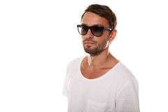 Male model with sunglasses. Isolated in white Royalty Free Stock Photo