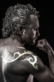 Male model with tribal tattoo, evil, blind, fallen angel of deat Stock Images