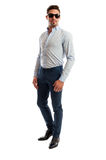 Male model wearing casual business clothes Royalty Free Stock Images
