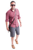 Male model wearing summer clothes and sunglasses Royalty Free Stock Photography