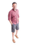 Male model wearing summer clothing. On white background Royalty Free Stock Images