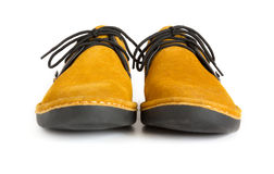 Male modern style moccasin. Orange male modern style moccasin Royalty Free Stock Photos