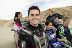 Male Motor Biker With Friends Royalty Free Stock Photo