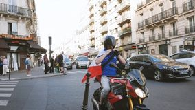 Male on motorcycle with French flag before major sport event stock video footage
