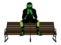 Male Motorcycle Rider on a bench Silhouette Royalty Free Stock Images