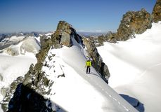 Male mountain guide standing on a glacier on his way to a high summit in the Swiss Alps. A male mountain guide standing on a glacier on his way to a high summit Stock Photography