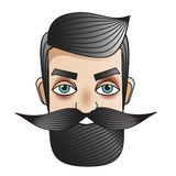 Male with moustache. Man face. Badge, sticker in vintage tattoo style. Emblem for barbershops, man fashion prints and other royalty free illustration