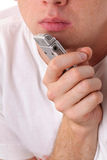 Male mouth and dictaphone. Close-up stock photos