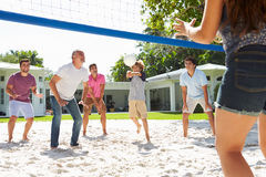 Male Multi Generation Family Playing Volleyball In Garden Stock Image