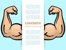 Male muscle arms banner template. Sport fitness poster. Vector illustration Stock Photos