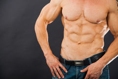 Male muscular torso with six pack abs. Amazing figure. Cutting phase Stock Images