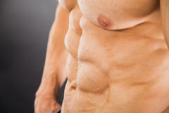 Male muscular torso with six pack abs. Amazing figure. Cutting phase Royalty Free Stock Images