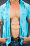 Male muscular torso with six pack abs. Weight loss concept Stock Image