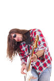 Male musician with face expression playing electric bass guitar Royalty Free Stock Photos