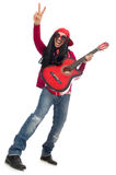 Male musician with guitar isolated on white. The male musician with guitar isolated on white Royalty Free Stock Image