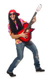 The male musician with guitar isolated on white. Male musician with guitar isolated on white Royalty Free Stock Photography