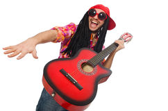 The male musician with guitar isolated on white. Male musician with guitar isolated on white Royalty Free Stock Images