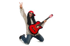 The male musician with guitar isolated on white. Male musician with guitar isolated on white Royalty Free Stock Photos