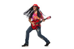 The male musician with guitar isolated on white. Male musician with guitar isolated on white Stock Photo