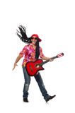 The male musician with guitar isolated on white. Male musician with guitar isolated on white Stock Image