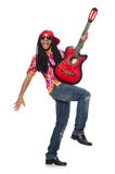Male musician with guitar isolated on white. The male musician with guitar isolated on white Royalty Free Stock Images