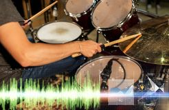 Male musician playing drum kit at concert Royalty Free Stock Photo